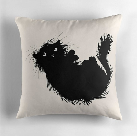 Moggy (No.3) - Black and White - Throw Pillow / Cushion Cover by Oliver Lake