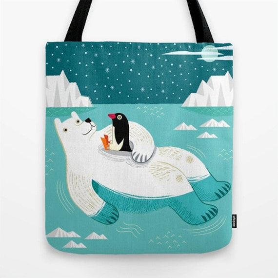 "Hitching A Ride - Polar Bear and Penguin Tote Bag / Book Bag - 16"" x 16"""