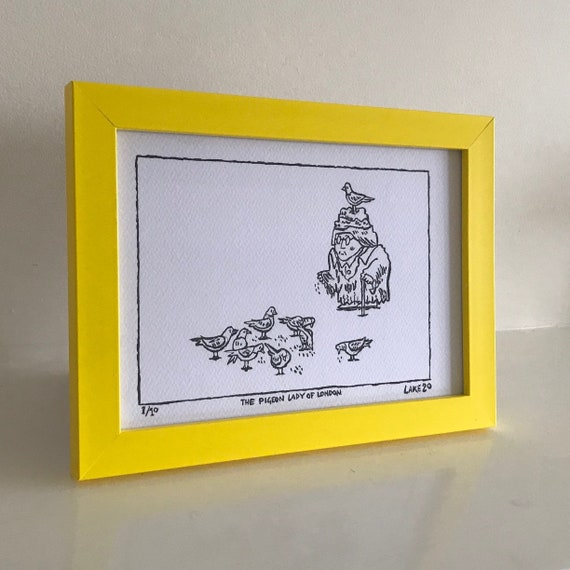 The Pigeon Lady of London, original Drawing, comic, funny drawing, framed drawing, yellow frame, 1 of 10 by Oliver Lake, Christmas Gift