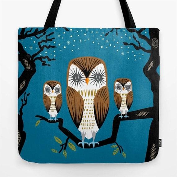 "Three Lazy Owls - illustrated Dark Blue - Owl / Bird - Tote Bag ( 18"" x 18"")"