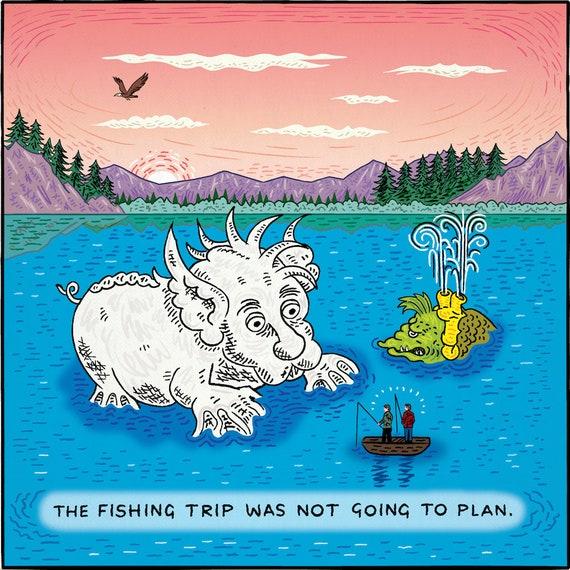 Gone Fishing - single panel comic - limited edition art print by Oliver Lake - iOTA iLLUSTRATION
