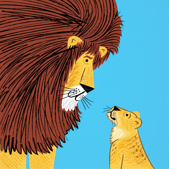 Listen To The Lion - children's art poster print by Oliver Lake - iOTA iLLUSTRATiON