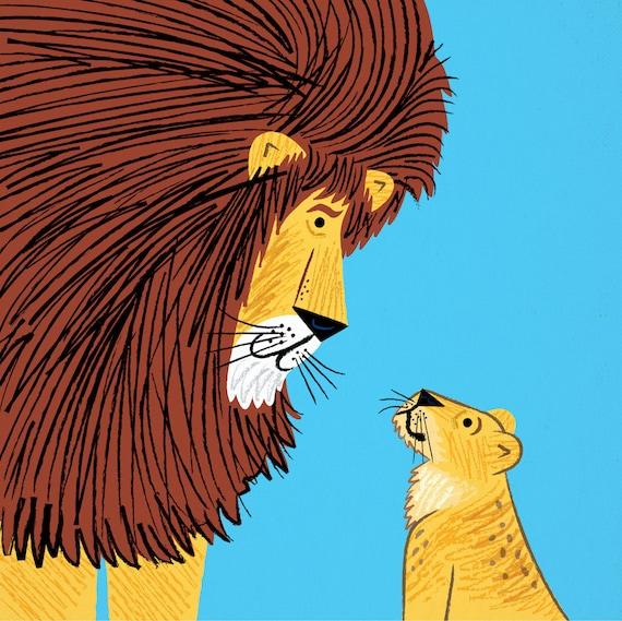 Listen To The Lion - art poster print by Oliver Lake - iOTA iLLUSTRATiON