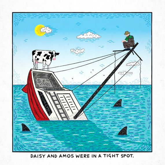 Sinking Fast - funny comic art, single panel comic, limited edition art print by Oliver Lake