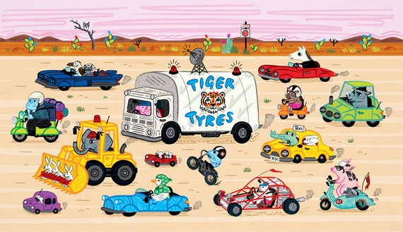 Desert Drive -  Children's Animal Art - Poster Print by Oliver Lake - iOTA iLLUSTRATiON