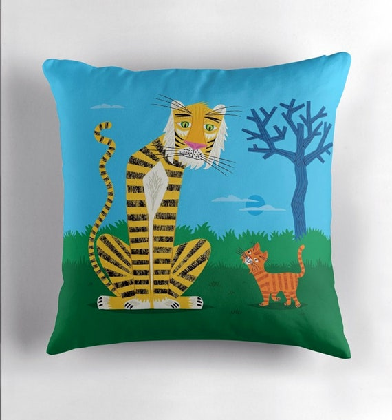 The Tiger and The Tom Cat - throw pillow cover including insert by Oliver Lake iOTA iLLUSTRATiON