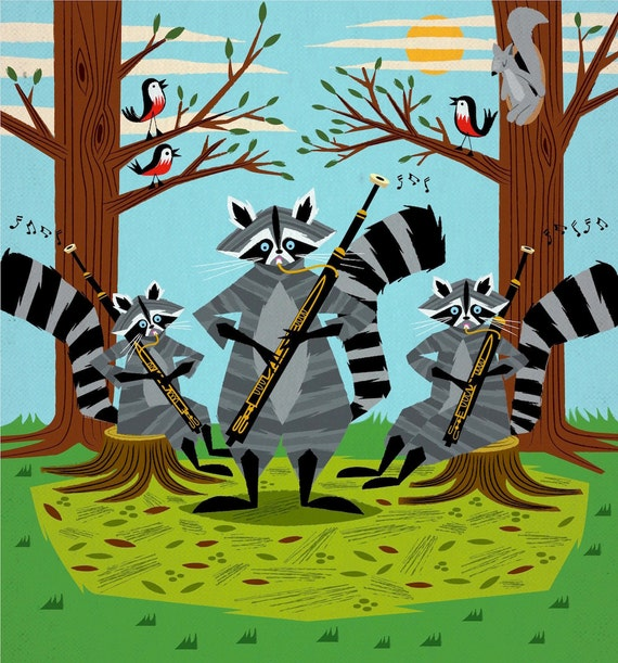 Raccoons Playing Bassoons - Raccoon / Music - Children's Animal Art Print by Oliver Lake - iOTA iLLUSTRATION