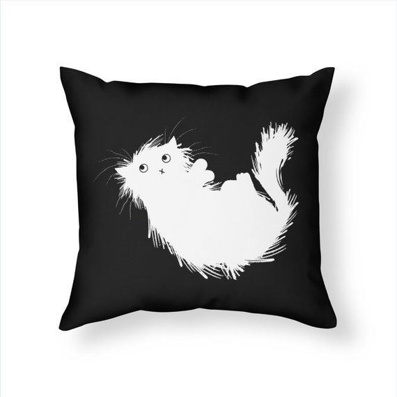 Moggy (No.3) -  Cat Throw Pillow / White on Black Cushion Cover including insert by Oliver Lake / iOTA iLLUSTRATION