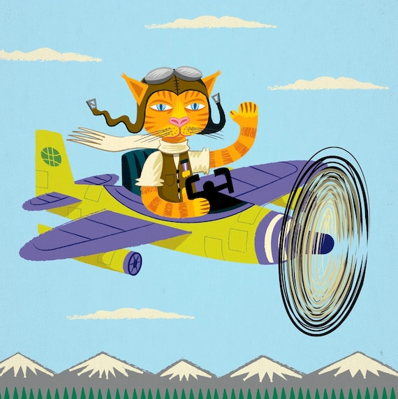 iOTA iLLUSTRATION - Tibbles Learns To Fly - Cat / Aeroplane - Light Blue - Animal Art Poster by Oliver Lake - iOTA iLLUSTRATiON