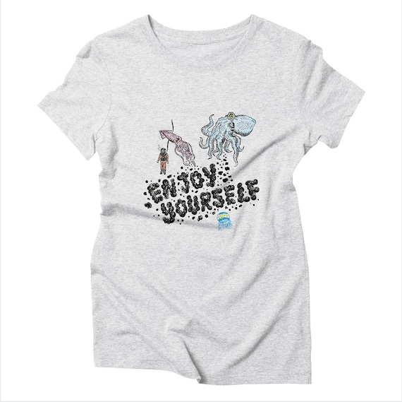 Enjoy Yourself - Women's Triblend Heather White T-shirt / Tee - Women's Apparel by Oliver Lake - iOTA iLLUSTRATiON