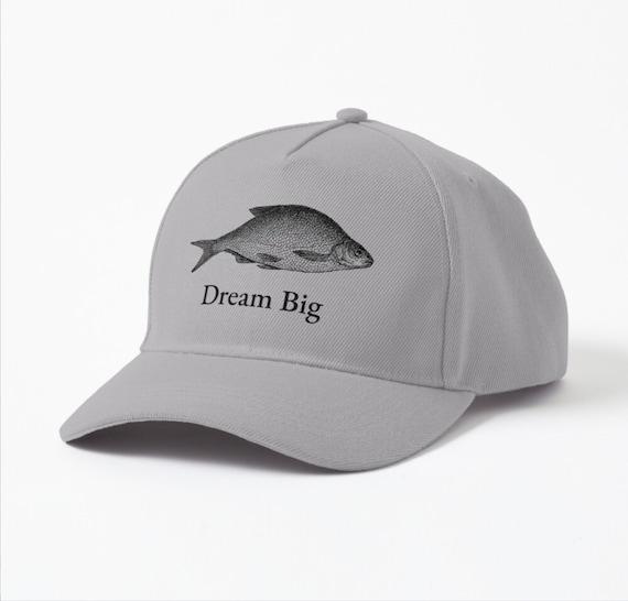 Dream Big - Baseball cap, Fishing cap, Fish design, Light Grey, fishing hat