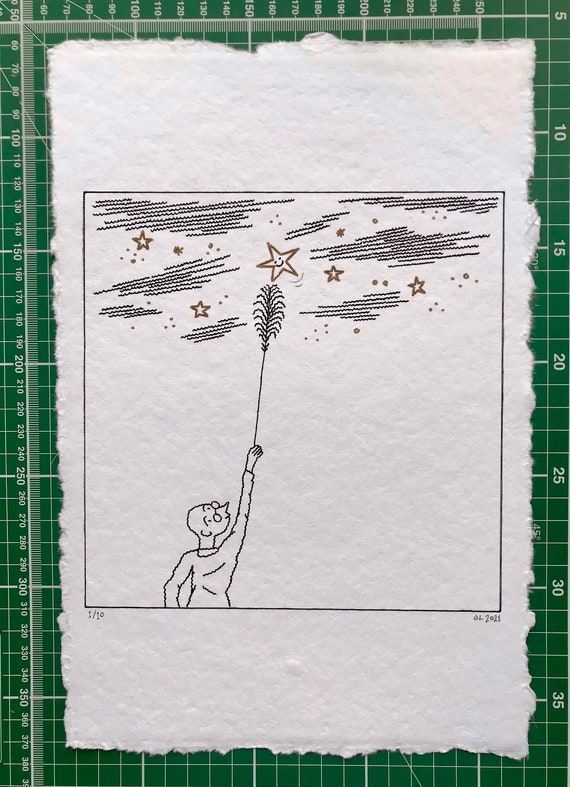 The Star Tickler, original drawing, hand drawn art, children's art, 2 of 10 by Oliver Lake