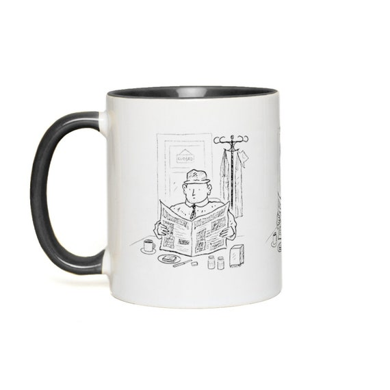 In The Café - Accent Mug -  Green, Yellow, Red, Pink, Orange,  Blue, Black by Oliver Lake iOTA iLLUSTRATiON