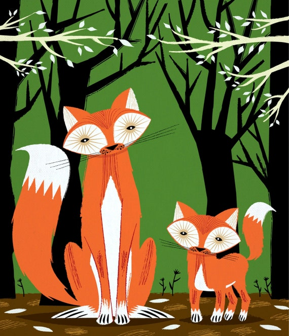 iOTA iLLUSTRATION - Two Fine Foxes - children's room decor -  animal art poster print