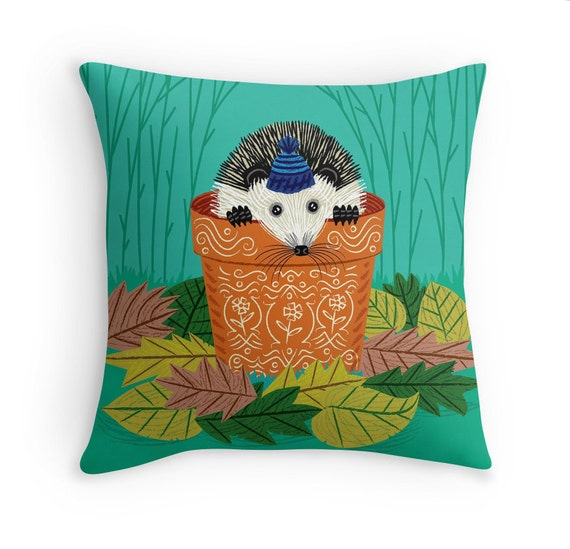 "A Hedgehog's Home -  illustrated Pillow Cover / Throw Cushion Cover - Children's room Decor - 16"" x 16"" by Oliver Lake iOTA iLLUSTRATiON"