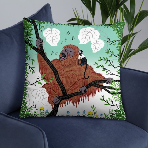 Simian Songs - children's cushion cover / decorative throw pillow cover - monkey art - including insert by Oliver Lake