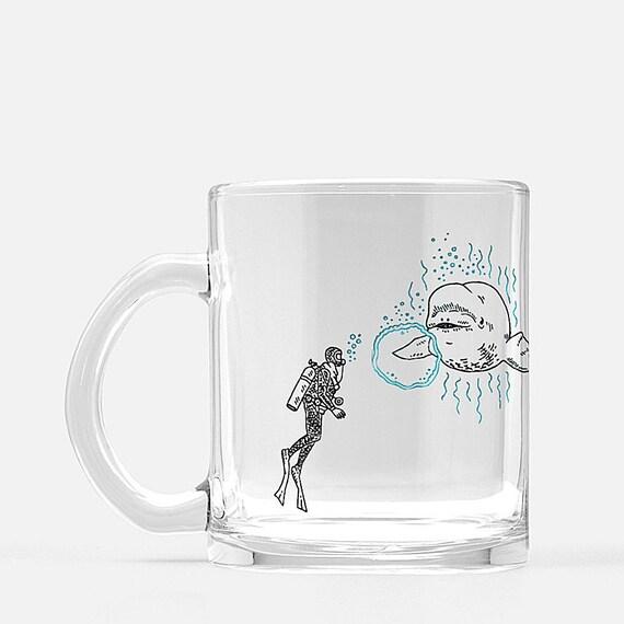 Beluga Says Hi,  glass mug, whale mug, animal design, illustrated mug by Oliver Lake