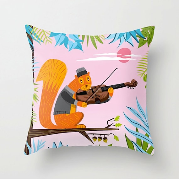 "Red Squirrel Serenade -  Childrens Decor - Pink - Throw Pillow / Cushion Cover (16"" x 16"") iOTA iLLUSTRATION"