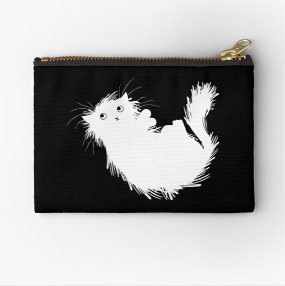 "Moggy (No.3) - kitten zip pouch pencil case - make up bag - coin purse 6"" x 4""  / 9.5"" x 6"" / 12.4"" x 8.5"" Oliver Lake iOTA iLLUSTRATiON"