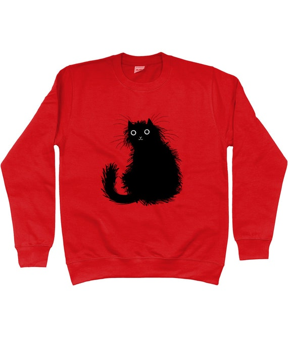 Moggy (No.1) Sweatshirt, Black cat, illustrated apparel by Oliver Lake
