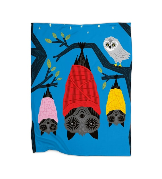 "Bats In Blankets - children's fleece blanket - 30"" x 40"" / 50"" x 60"" / 60"" x 80"""