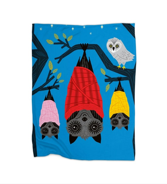 "Bats In Blankets - children's fleece blanket - 30"" x 40"" / 50"" x 60"" / 60"" x 80""  by Oliver Lake iOTA iLLUSTRATiON"