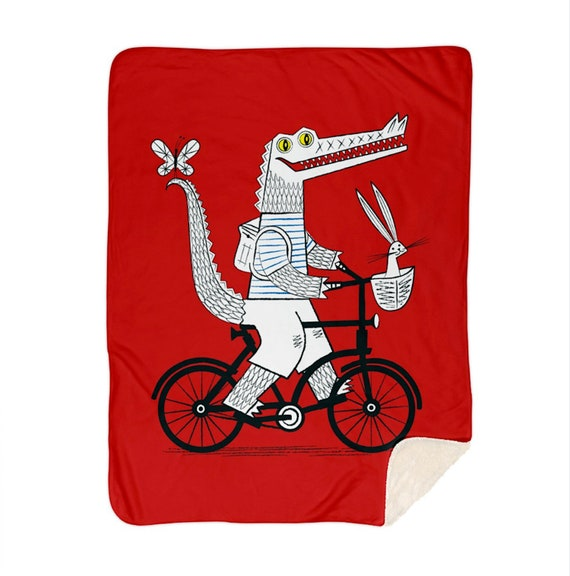 "The Crococycle - red children's sherpa blanket - children's room decor - nursery decor - 60"" x 80"" by Oliver Lake iOTA iLLUSTRATiON"
