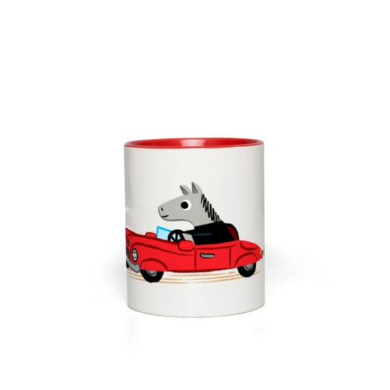 Horse Power Mug - Red Coloured Handle Mug - Red Accent Mug