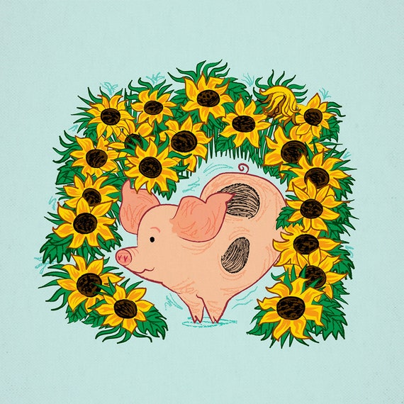 Sunflower - pig and sunflowers - animal art print by Oliver Lake - iOTA iLLUSTRATiON