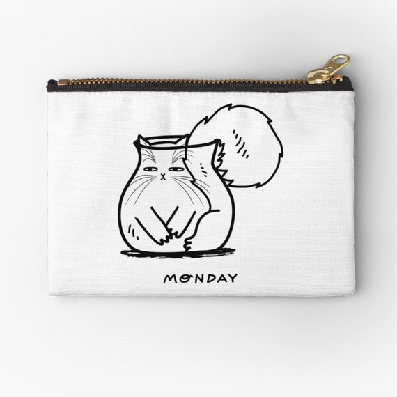"Monday - zipper pouch - zip pouch - pencil case - make up bag - 6"" x 4""  / 9.5"" x 6"" / 12.4"" x 8.5"" by Oliver Lake iOTA iLLUSTRATiON"