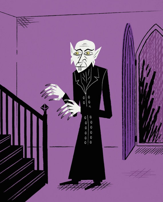 Nosferatu - Purple version - The Halloween Series - Limited Edition Print - iOTA iLLUSTRATiON