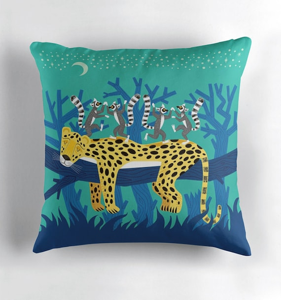 The Leopard and The Lemurs - throw pillow cover - nursery decor -  by Oliver Lake iOTA iLLUSTRATiON