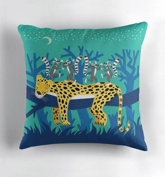 The Leopard and The Lemurs - throw pillow cover including insert - nursery decor - by Oliver Lake iOTA iLLUSTRATiON