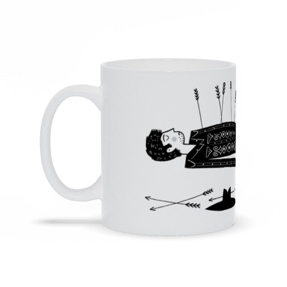 The Lonesome Death Of Cowboy Joe - Funny Coffee Mug - Office Gift Mug - illustrated Mug by Oliver Lake Iota Illustration