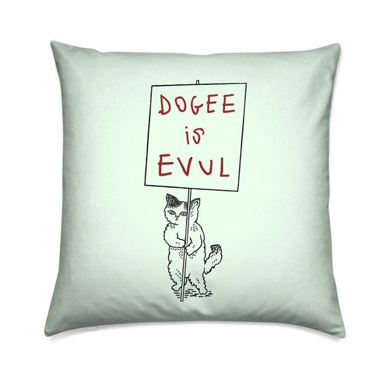 Pussycat Protest, cute kitten, mint, comedy decorative pillow cover,  throw cushion cover, including insert, by Oliver Lake