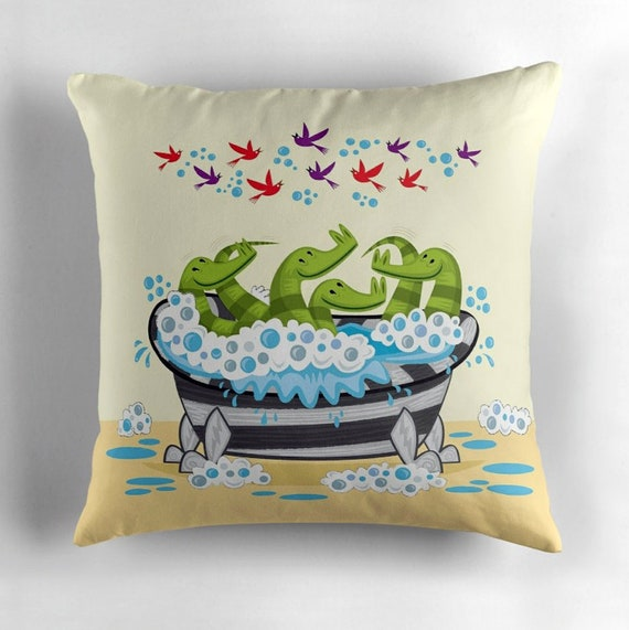 Crocodile Soup - throw pillow cushion cover by Oliver Lake - iOTA iLLUSTRATION