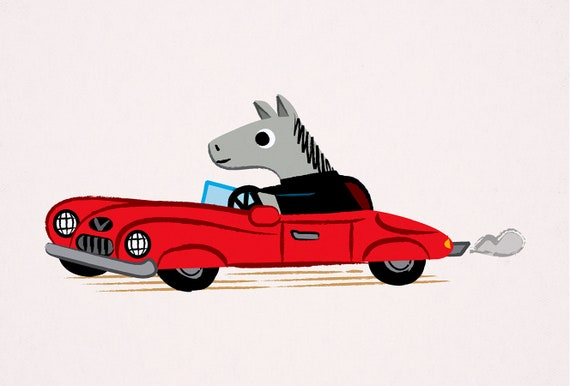 Horse Power - Animal Art Poster Print by Oliver Lake - iOTA iLLUSTRATiON