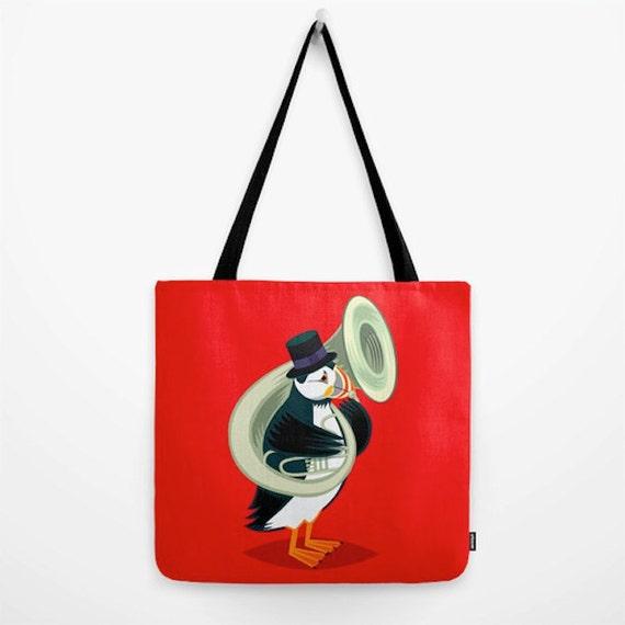 "Puffin On A Tuba - Tote Bag / Book Bag / Record Bag ( 18"" x 18"") by Oliver Lake - iOTA iLLUSTRATiON"