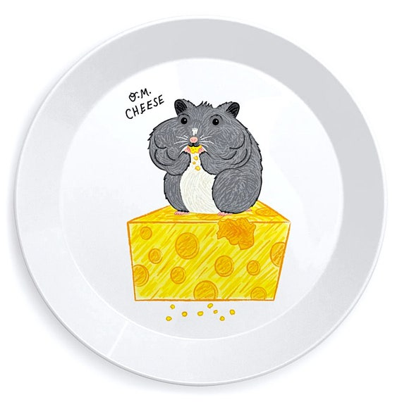 O.M. Cheese - mouse / hamster children's plate - dinner plate - lunch plate - kid's plate by Oliver Lake iOTA iLLUSTRATiON
