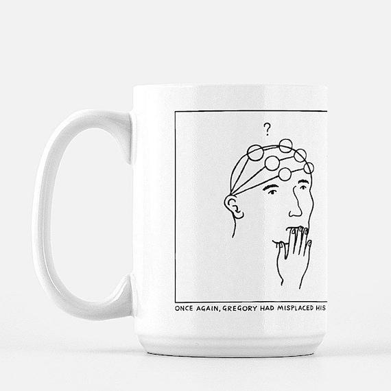 Gregory's Glasses, deluxe ceramic mug, large size mug, 15 Oz, funny mugs, illustrated mug by Oliver Lake