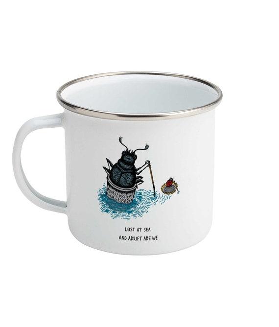 Lost at Sea, Enamel Camping Mug,  Beetle and Ladybug, Insect Design,  Illustrated Mug by Oliver Lake