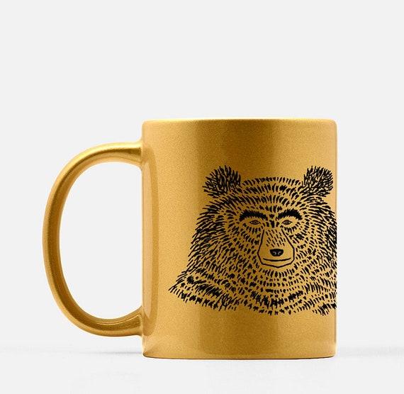 The Bear - gold ceramic mug - animal design - illustrated mug by Oliver Lake