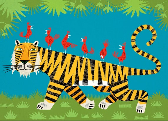 Tiger Transportation - Nature / Wildlife - Childrens Art - Animal Art -  Kids Art - Limited Edition Art Poster Print by Oliver Lake