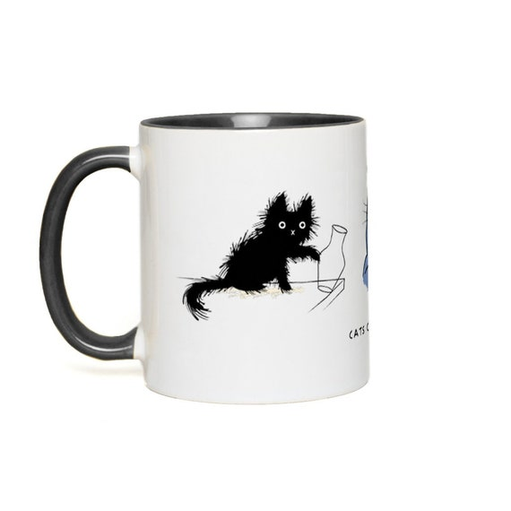 Cats can be cruel - Accent Mugs - Black, Yellow, Red, Pink, Orange, Green, Blue by Oliver Lake iOTA iLLUSTRATiON