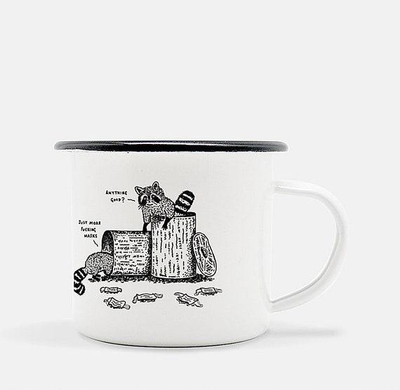 Anything Good? - Raccoons - enamel camping mug - animal design - illustrated mug by Oliver Lake