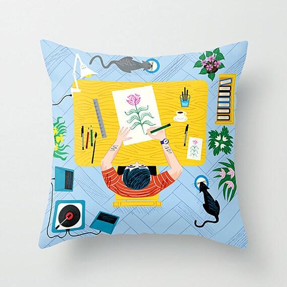"The Artist - Throw Pillow / Cushion Cover (16"" x 16"") iOTA iLLUSTRATION"