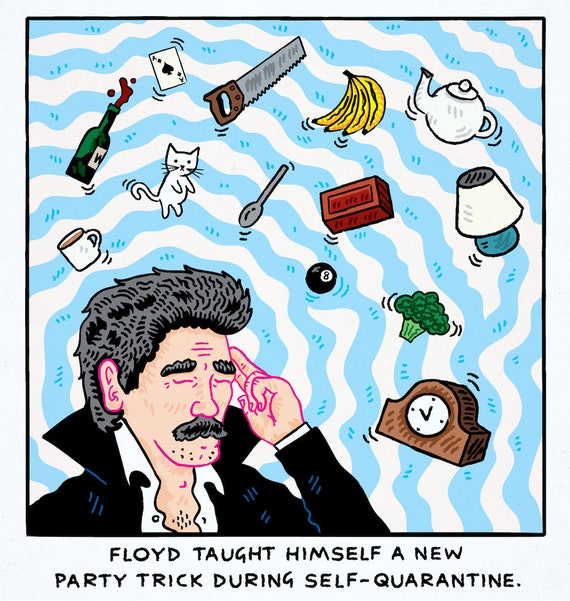 Floyd's Party Trick - funny comic - limited edition art print by Oliver Lake - iOTA iLLUSTRATION