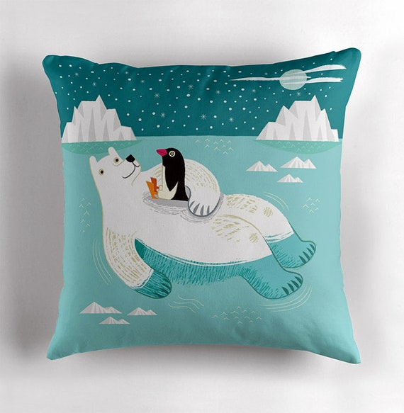 Hitching a Ride - Polar Bear and Penguin - Children's / Nursey decor - Throw Pillow / Cushion Cover including insert - iOTA iLLUSTRATION