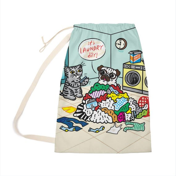 "It's Laundry Day! - Laundry Bag - Clothing Bag - 28"" x 36"" by Oliver Lake - iOTA iLLUSTRATiON"
