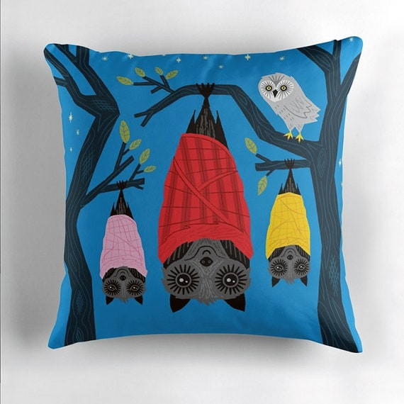 Bats in Blankets - throw pillow cover by Oliver Lake - iOTA iLLUSTRATiON